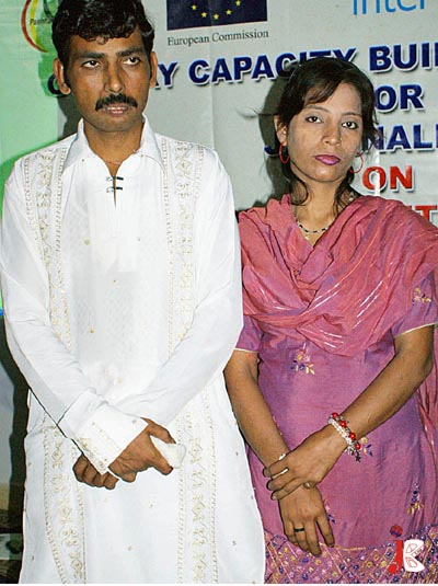September 05: A photo of first HIV positive married couple, Muhammad Iqbal and Rubeena, during their participation in workshop on HIV organized by Pakistan Society at SPO office in Hyderabad