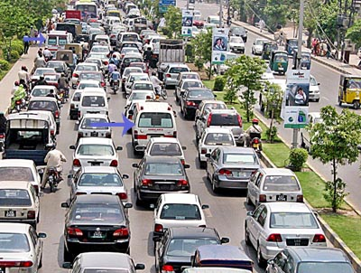 July, 20: A view of a traffic Jam at Jail Road Lahore, in all these vehicles two of the ambulances are also stuck, can any one imagine the pain of those inside these ambulances?