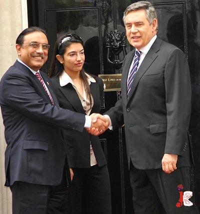 August 28: British Prime Minister Gordon Brown  receiving President Asif Ali Zardari upon his arrival at 10 Downing street in London