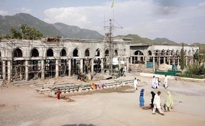 October 09: The extension work of the shrine of Barri Imam, is in full swing at Nurpur Shahan