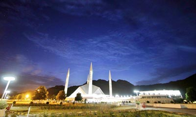 July, 05: A night view of the grace of Islamabad Faisal Mosque