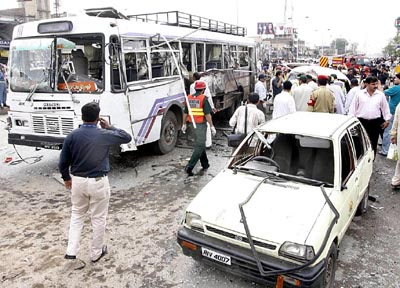 July, 03: Rawalpindi rocks with another suicide attack on the the bus (RPT-9535) of Heavy Mechanical Complex Taxila