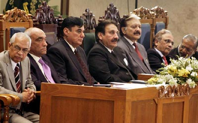 July, 05: Chief Justice of Pakistan Iftikhar Muhammad Chaudhry and others sit on stage during the two days National Conference at Supreme Court