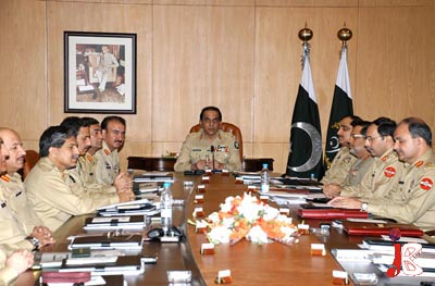 October 07: The Chief of Army Staff (COAS), General Ashfaq Parvez Kayani presiding over 122 Corps Commanders Conference at General Headquarters, Rawalpindi on Wednesday. The Pakistan's military leadership expressed concerns over the Kerry-Lugar bill.