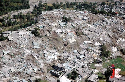 October 08: A file picture of an aerial view of earthquake devastated city of Balakot. The people of AJK and Pakistan are celebrating the fourth anniversary of 08 October 2005 today.May God console their souls who died in this tragedy.