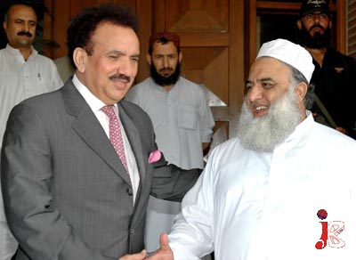 September 30: Federal Minister for Interior Senator A Rehman Malik receives Amir Jamiat Ulmaa-e-Islam (F) Maulana Fazl-ur-Rehman at Ministry of Interior
