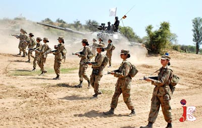September 19: Female Cadets of Pakistan Military Academy during Fire Power Demonstration and Battle Inoculation Training at Jhelum