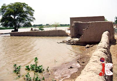 August 12: Floodwater has entered the houses in Jhoke Utra after breach of embankment on late Monday night