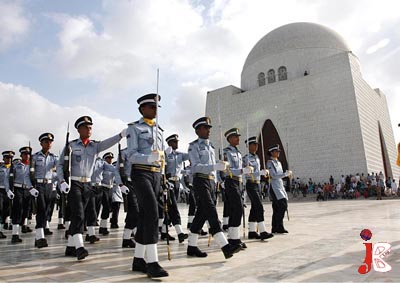 September 06: Pakistan Air Force soldiers march in a parade during a ceremony to celebrate National Defence Day at Quaid's Mausoleum.