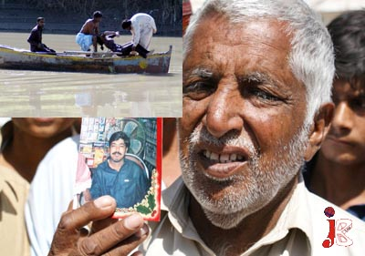 October 07: True Love: Right: A man shows the picture of his son Naik Muhammad Khokhar, who was a cancer patient. After realizing his disease is incurable he commits suicide in Phuleli Canal. When her wife was told about this she cannot control her self and dived into the same Phuleli Canal. Left Top: Rescue workers pull out the body of Rehana Khokhar from Phuleli canal.