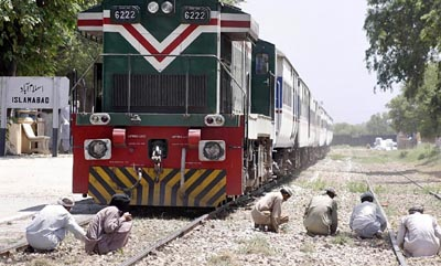 July, 15: Repairing work of  Margalla Railway Station is underway as the rail service has resumed in the capital after a long time