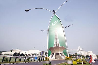 August 12: A picture of Minar-e-Pakistan has been installed in front of Parliament House in connection to national day celebrations as the nation will celebrate 63rd anniversary of its independence on 14th August.