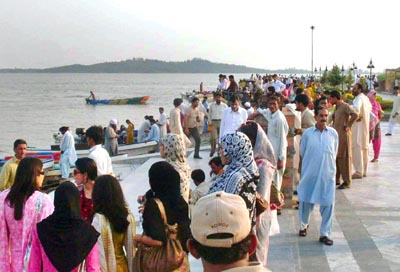 September 28: People enjoy themselves at Rawal Lake View in the Capital.