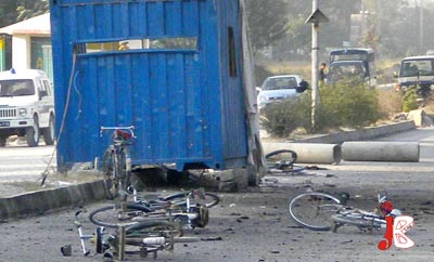 October 23: Bicycles are laying on the road after a suicide bomber blew himself on the check post near Karma Aeronautical Complex. 7 people including two security personnel have been martyred and 13 people got injured in the grim blast.