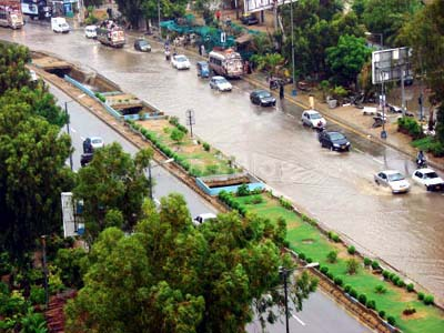 July, 20: Karachi city presents a city made on water, it becomes obvious that whether its rain or shine the citizens of Karachi have to suffer, Photo By Pooja