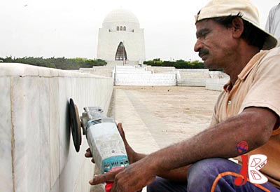 August 12: A worker is busy in the cleaning work of Quaid's Mausoleum