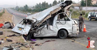 October 01: A view of the passenger van after an accident on Motorway near Hassan Abdal. At least 15 people were killed in the accident.