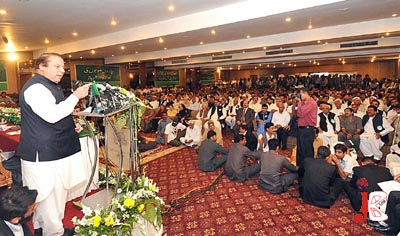 September 07:  Former Prime Minister Nawaz Sharif addresses the party workers during a Joint PML (N) Central Working Committee and Parliamentary meeting in Bhurban