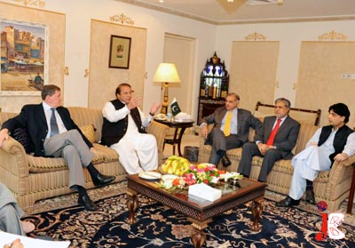August 16: Former Prime Minister Nawaz Sharif gestures as he speaks during a meeting with US Special Representative for Pakistan & Afghanistan Richard Holbrooke during a meeting at Punjab House. Chief Minister Punjab Shahbaz Sharif, Ishaq Dar and Chaudhry Nisar Ali Khan are also seen in the picture
