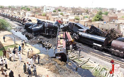 September 10: A view of the carnage after two goods carrying trains collided with each other near Kotri Railway Station.