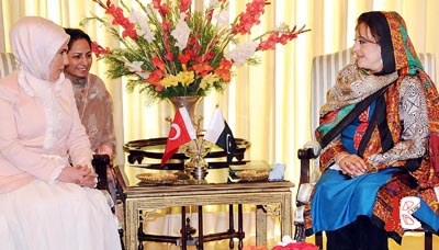 October 25: Spouse of the Prime Minister of Turkey Emine Erdogan called on wife of the Pakistani Prime Minister Begum Fauzia Gilani at PM House.