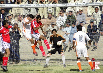 October 05: A view of play during a tie of 6th Pakistan Premier League Football Championship 2009 between Afghan Club Chaman and PIA
