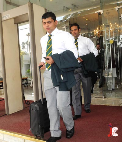 September 17: National cricket team players Kamran Akmal and Rana Naveed leave for Airport from a local hotel before the departure of Pakistan cricket team for Champions Trophy