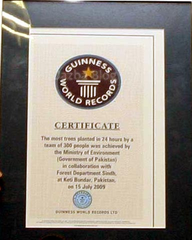 July, 17: Guinness Book of World Record Certificate which Pakistani Government collects after planting 541176 Trees