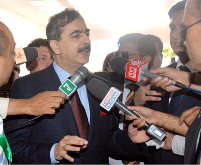 July, 15: Prime Minister Syed Yousaf Raza Gillani talks to the media persons upon arrival at Sharm El Sheikh, Egypt to attend the NAM summit