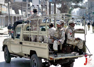 October 02: Pakistani Security personnel patrolling in the streets of Quetta after the funeral prayers of Advocate Walayat Hussain, who was killed in the target killing of last night by unknown assailants in the provincial capital.