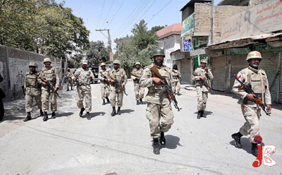 September 10: Security personnel patrol the streets to avert any untoward incident in Quetta after the shutter down and tyre jam strike called by BNF