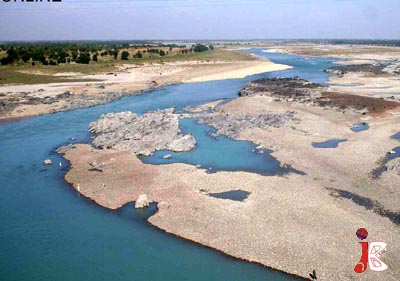 October 07: A view of Sindh River from Attock Khurd as its water level has fallen due to less rains in the country.