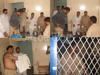July, 16: In these snaps an SHO Akram Baloch is undressing his uniform after being caught taking bribe in Dera Ghazi Khan