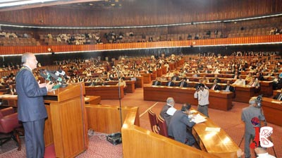 October 26: Turkish Prime Minister Recep Tayyip Erdogan addressing the joint session of the Parliament in Islamabad.