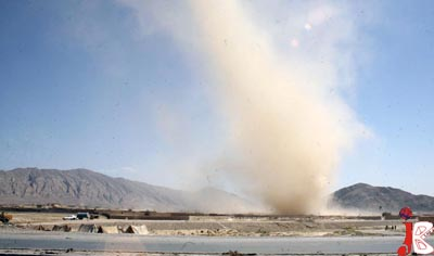 October 01: A view of dust twister at the outskirt area of the provincial capital, Hazar Ghanji