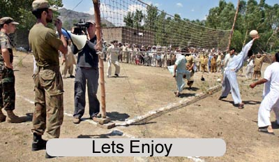 June, 25: A view of volleyball match of locals IDPs conducted by Army