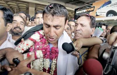June, 23: The winning caption of Pakistani team younis Khan is back in Karachi