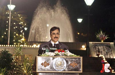 September 16: Prime Minister Syed Yousaf Raza Gilani speaks during an Iftar dinner hosted by him in the honour of the journalists.