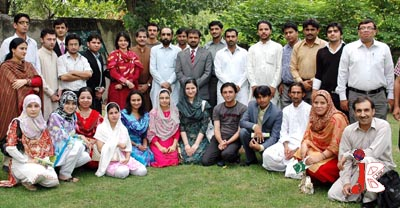 August 13: – Participants of a Youth Leadership Course organized by Center for Civic Education Pakistan, pose for a group photo with PML (N) leaders Siddiq-ul-Farooq and Muhammad Asim Khan, during their visit to PML (N) Central Secretariat